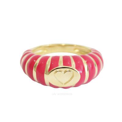 Anel Detalhe Coração Colorido - PINK