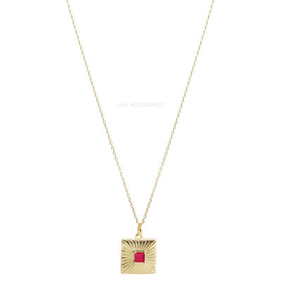 Colar Medalhinha Quadrada Pedra Fusion - Rubelita