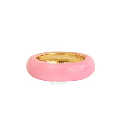Anel Fun Esmaltado Ouro - Rosa Chiclete
