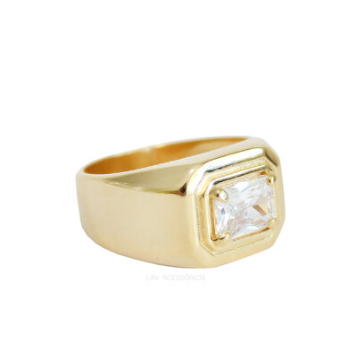 Anel Octagonal Cristal Ouro