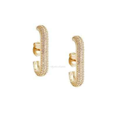 Brinco Ear Hook Glam Cravejado - Ouro