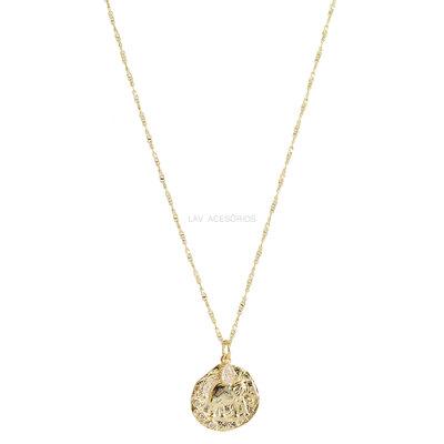 Colar Longo Medalha Organic Elefante - 70 cm