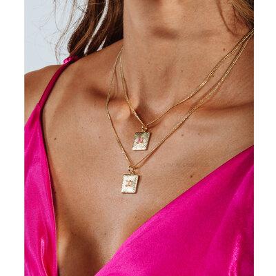 Colar Medalhinha Quadrada Pedra Fusion - Morganita