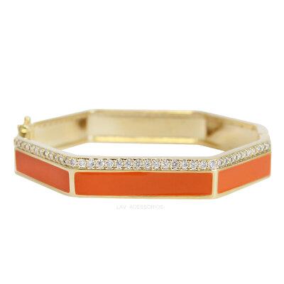 Bracelete Esmaltado Shine Sextavado - Laranja