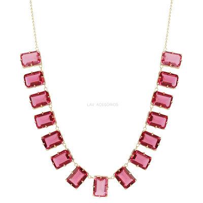 Colar Pedras Glam Retângulos Rosa