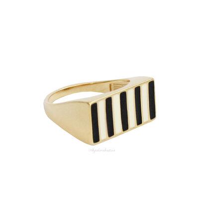 Anel Quadrado Stripes