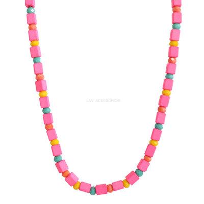 Colar Summer Beads Pink Neon