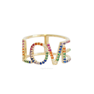 Anel Prata 925 LOVE Rainbow Ouro