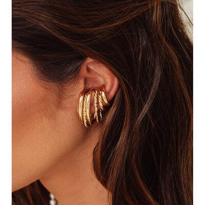 Piercing Ear Hook Fake Liso Ouro - UNITÁRIOS