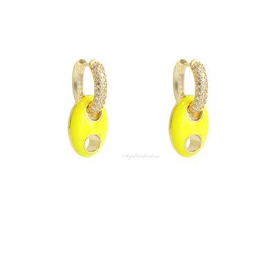 Argolinha Cravejada Elo Bold Esmaltado - Amarelo Neon