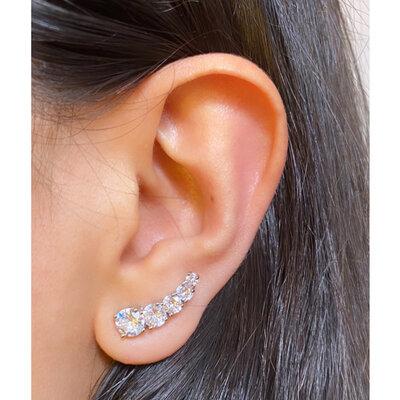 Brinco PRATA 925 Ear Cuff Pontos de Luz