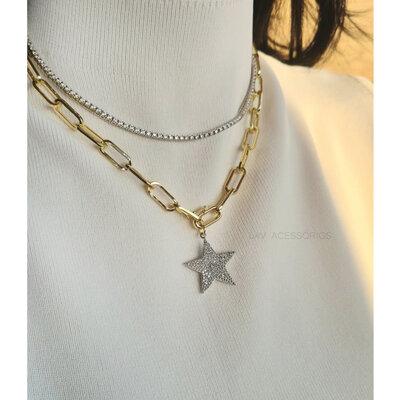Colar Elo Alongado Pingente de Estrela