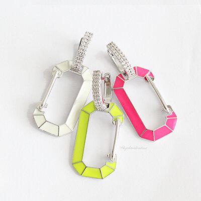 Brinco Trend Locker Chanfrado Pink Neon - Rodio