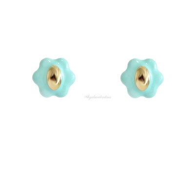 Brinco Blooming Botão Esmaltado - Azul Tiff
