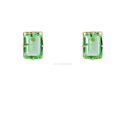 Brinco Pedra Glam Retangular Verde