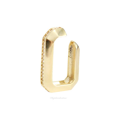 Piercing Ear Hook Fake Chanfrado Ouro 18k - UNITÁRIO