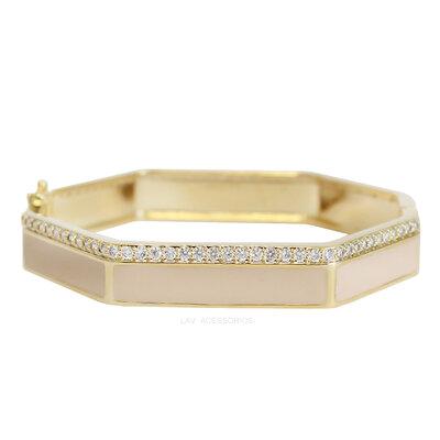 Bracelete Esmaltado Shine Sextavado - Areia