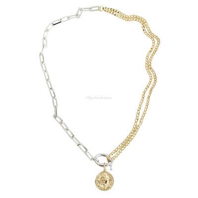 Colar Double Chain Medalha Vintage