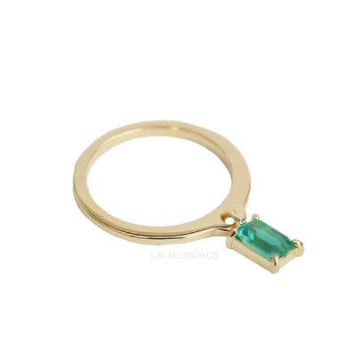 Anel Delicado Pingente Pedra - Verde