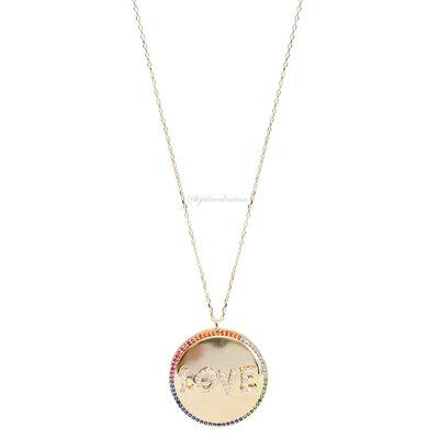 Colar Prata 925 Medalha LOVE Rainbow Ouro