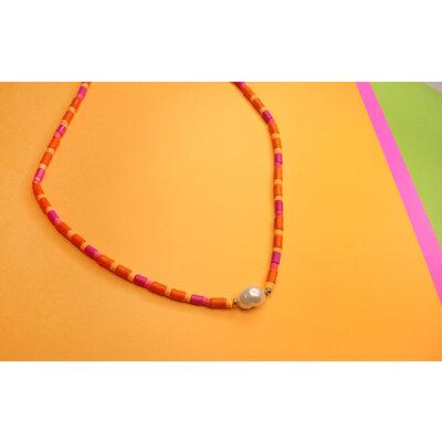 Colar Beads Pink e Laranja Detalhe Pérola