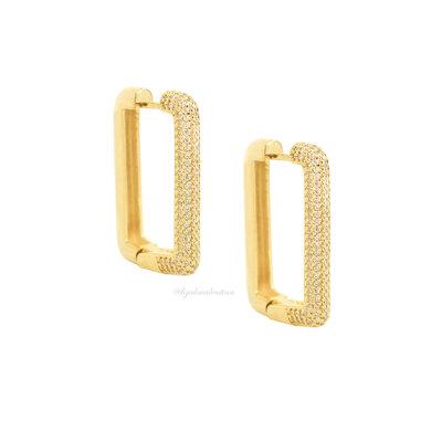 Argola Trend Retangular Cravejada Ouro