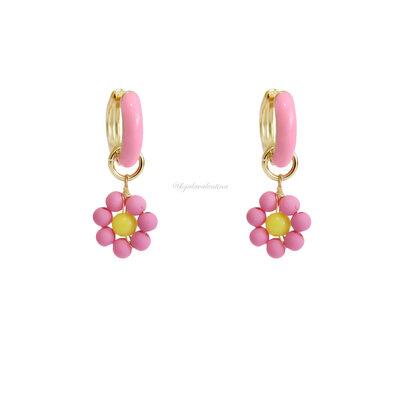 Argolinha Esmaltada Blooming - Rosa Chiclete