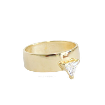 Anel Shape Cristal Ouro - Triângulo