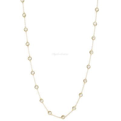 Colar Tiff Prata 925 Multi Zirconias - 80 cm Ouro