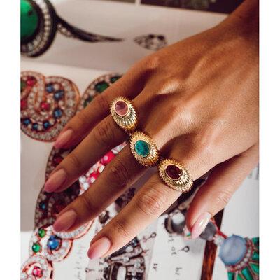 Anel Vintage Chloe Pedra Fusion - Turmalina