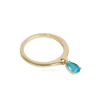 Anel Delicado Pingente Pedra - Azul