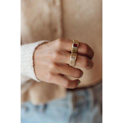 Anel Valentina Vintage Pedra Retangular - Cristal