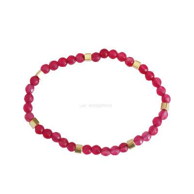 Pulseira Gipsy Pedras Jade Pink