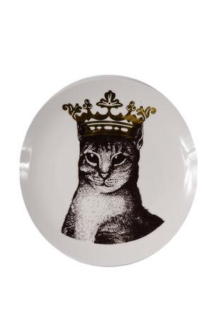 Prato de Cerâmica Decorativo Gato com Coroa