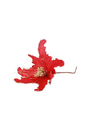 Flor Luxo Poinsettia c/ Borda de Glitter