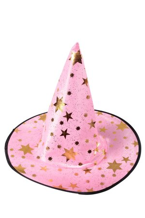 Chapéu de Bruxa Cetim com estrelas douradas