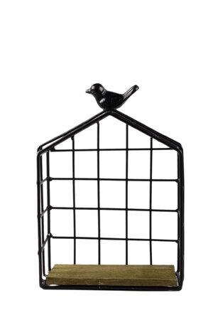 Nicho em Madeira com Estrutura em Metal formato Casa de Pássaro