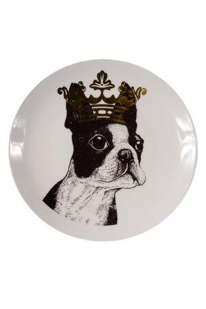 Prato de Cerâmica Decorativo Cachorro com Coroa
