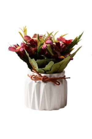 Vaso de Cerâmica com Flores Artificiais
