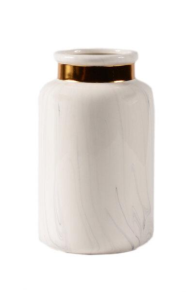 Vaso de Cerâmica Marmorizado com Bocal Dourado 18cm