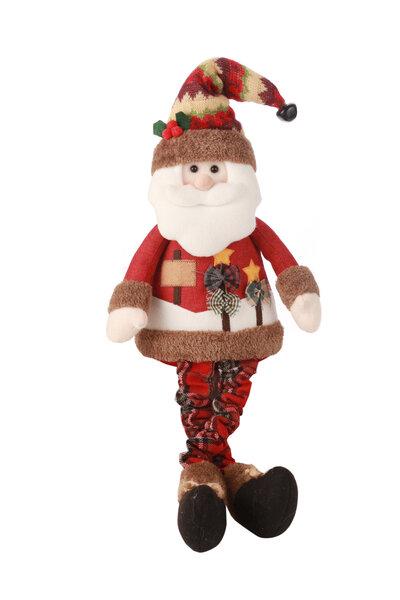 Boneco Papai Noel com Roupa Xadrez Sentado