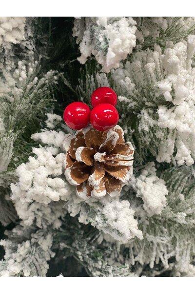 Árvore Pinheiro Luxo Nevado com Frutinhas Vermelhas