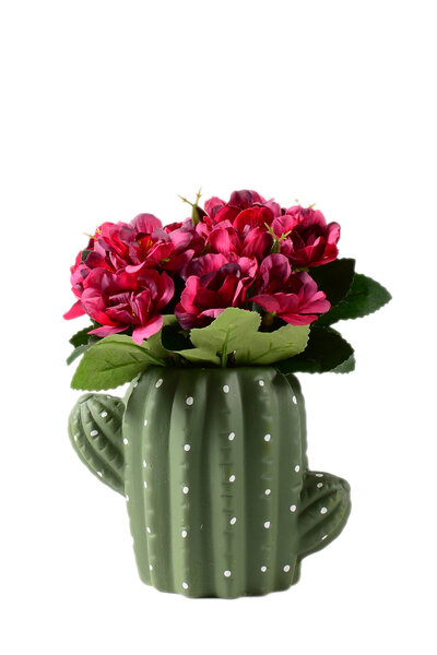 Vaso de Cerâmica em formato de Cacto com Flores Artificiais