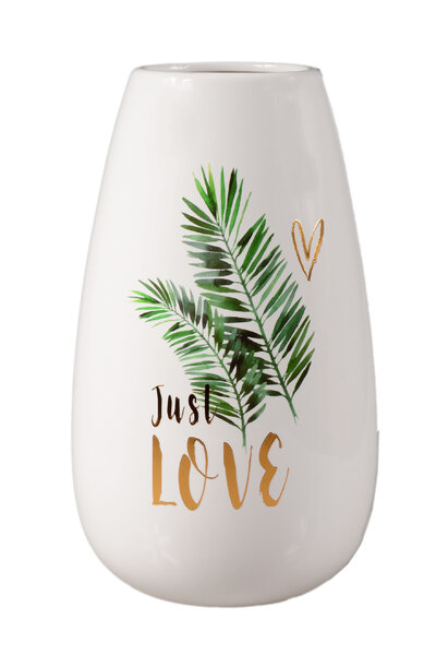 Vaso de Cerâmica Branco com Folhagens 24cm