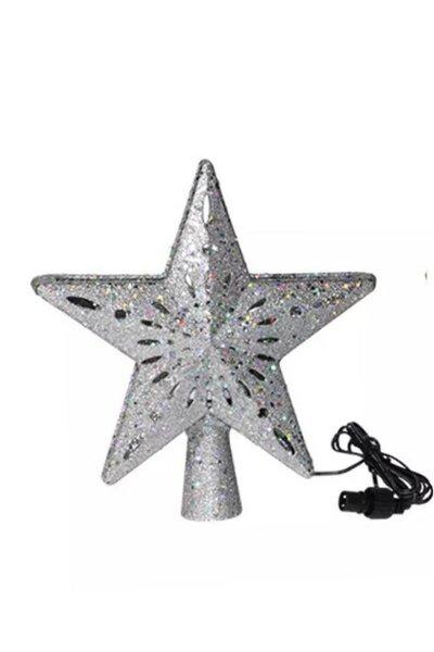 Ponteira Estrela Prata 3D LED com Efeito Floco de Neve
