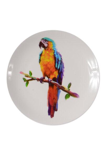 Prato de Cerâmica Decorativo Arara Azul