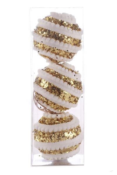 Bola Natalina Luxo PomPom com Glitter