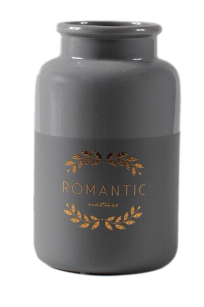 Vaso de Cerâmica Cinza Romantic Dourado Pequeno