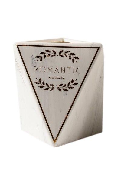 Vaso de Cerâmica Mármorizado Triangular Romantic 15cm