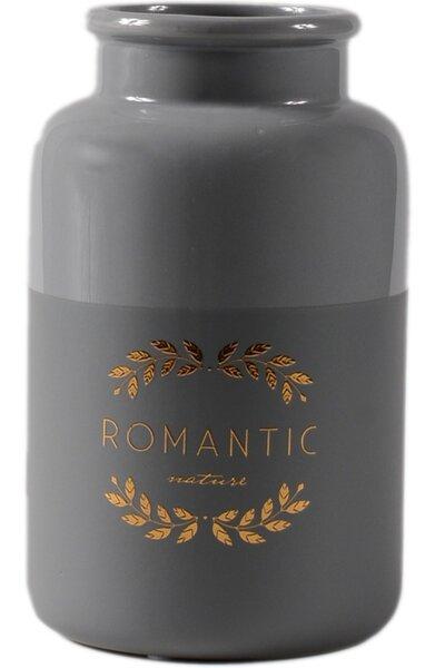 Vaso de Cerâmica Cinza Romantic Dourado Grande